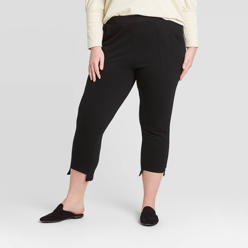Women's Plus Size Mid-Rise Step Hem Knit Cropped Lounge Pants - Who What Wear Black 4X, Women's, Size: 4XL was $31.99 now $22.39 (30.0% off)