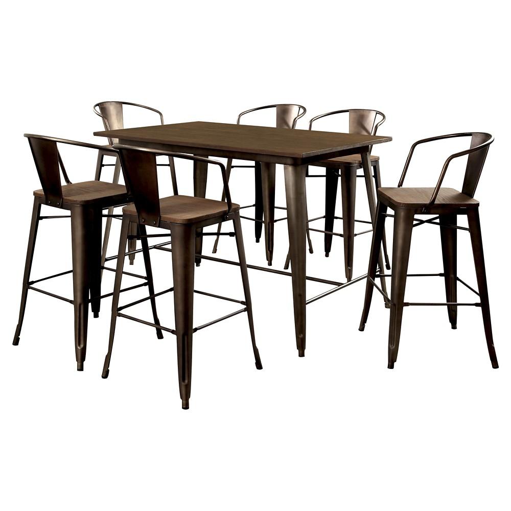 Sun & Pine 7pc Metal Frame Counter Dining Table Set Metal/Natural Elm
