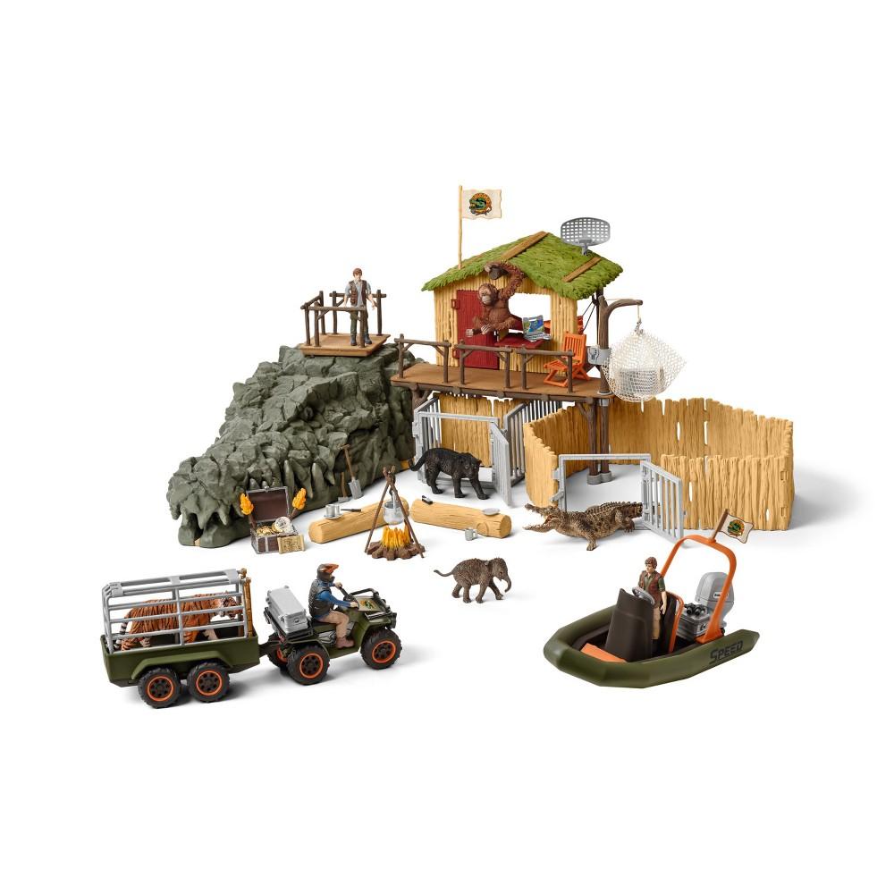 Schleich Wild Life Croco Jungle Research Station Playset