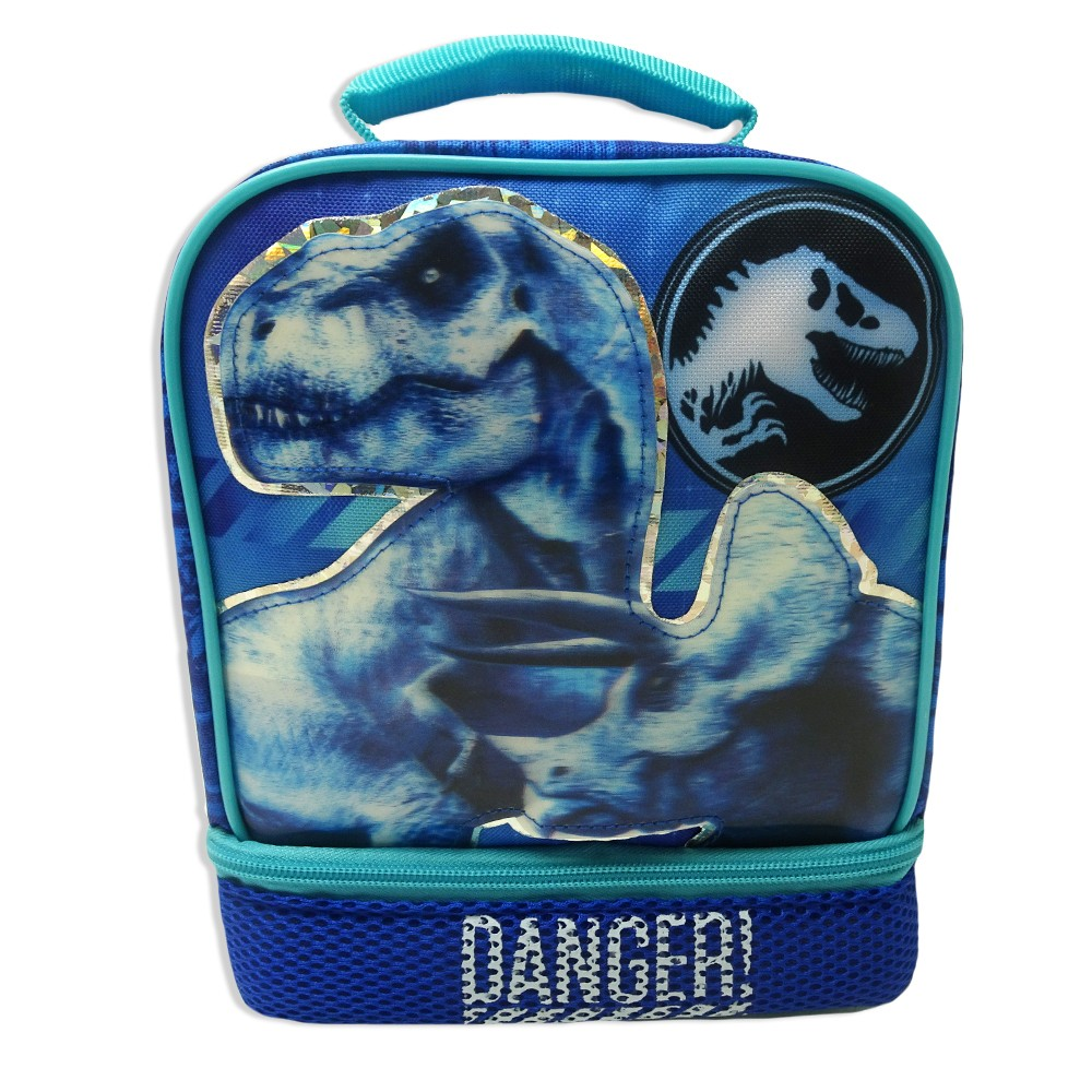 Jurassic World Dual Compartment Lunch Bag - Blue