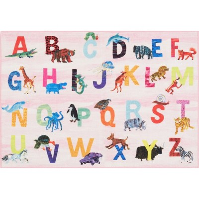 "Eric Carle Alphabet Area Rug (4'11""x6'6"") Pink - Home Dynamix"
