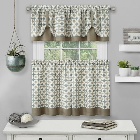 Kate Aurora Modern Geo 3 Pc Kitchen Curtain Tier Valance Set 56 In W X 36 In L Taupe Target