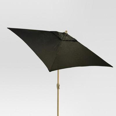 6.5' Square Umbrella - Black - Light Wood Finish - Threshold™