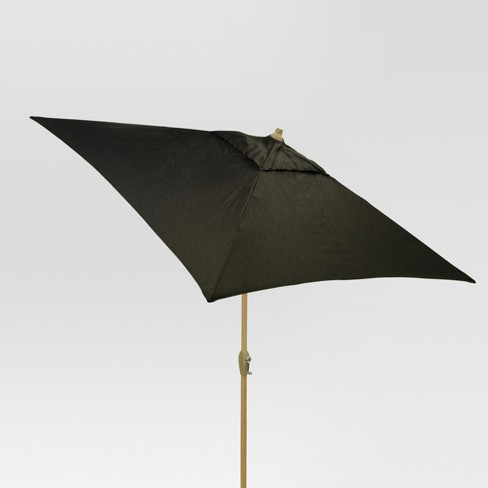 6.5' Square Umbrella - Black - Light Wood Finish - Threshold™ - image 1 of 1