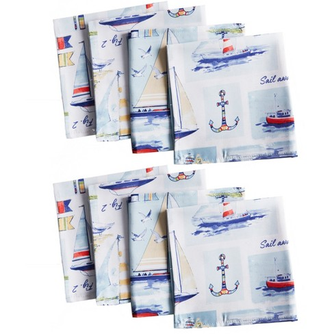 "Sail Away Stain Resistant Indoor Outdoor Napkin Set of 8 - 17"" x 17"" - Blue - Elrene Home Fashions - image 1 of 4"