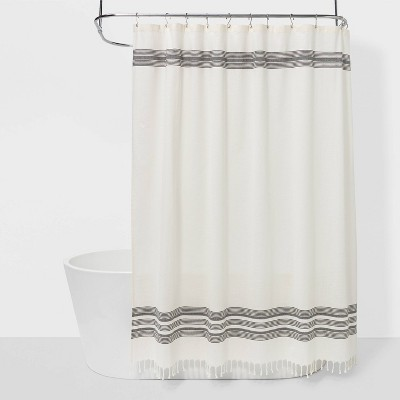 Stripe Fringe Shower Curtain White/Gray - Threshold™