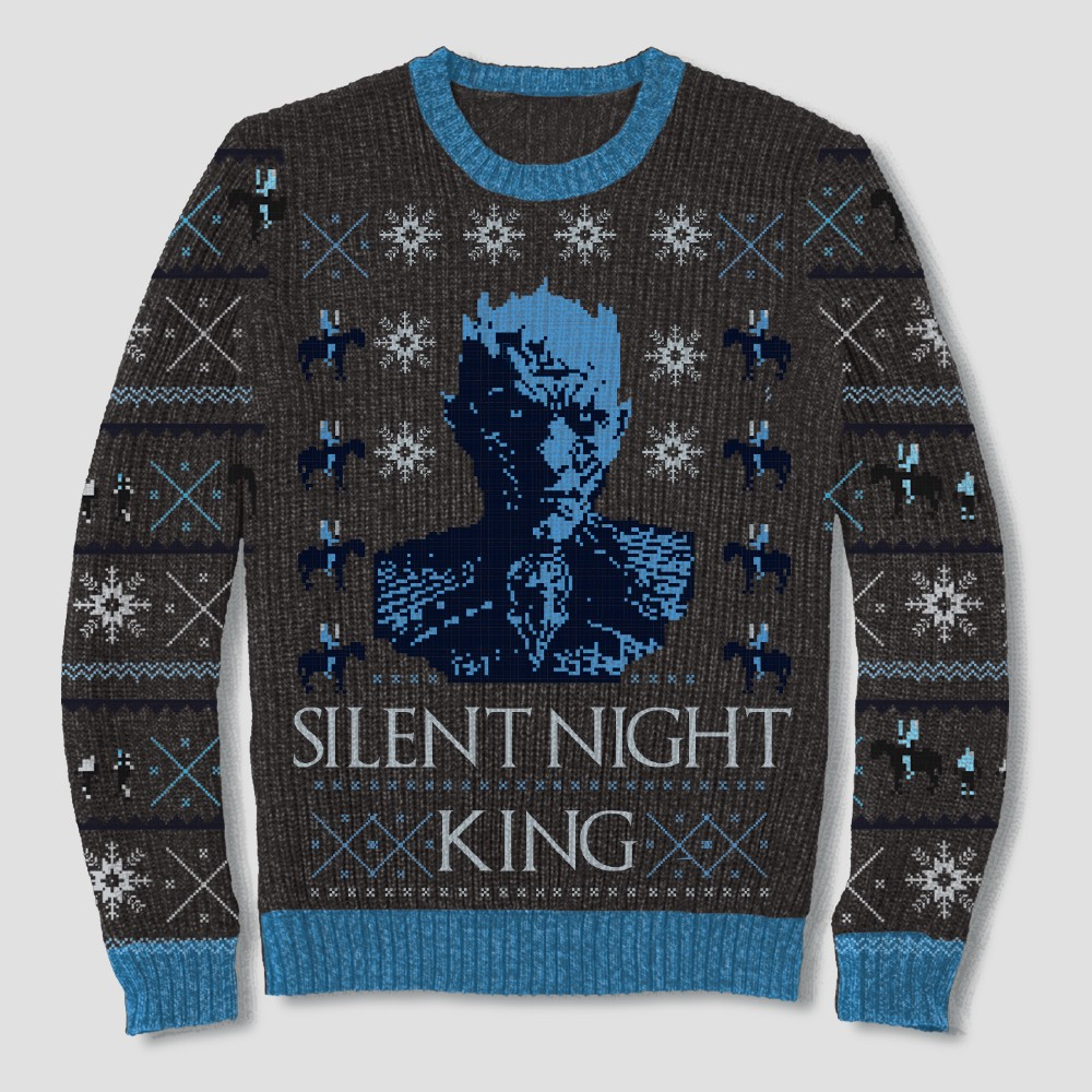 Men's Big & Tall Game of Thrones Silent Night King Pullover Sweater - Black 2XB