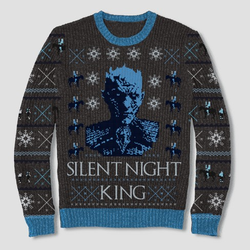 Mens Game Of Thrones Silent Night King Pullover Sweater Black