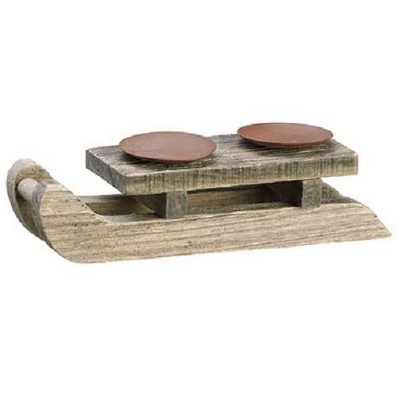 """Allstate Floral 10"""" Country Cabin Wooden Sleigh Dual Candle Holder Christmas Table Top Decoration"""