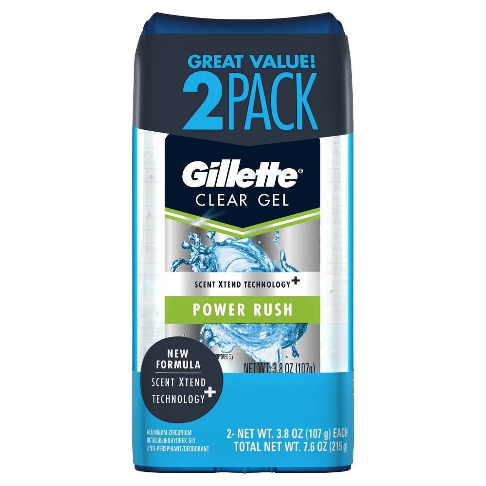 Image of Gillette Power Rush Clear Gel Antiperspirant and Deodorant Twin Pack - 7.6oz