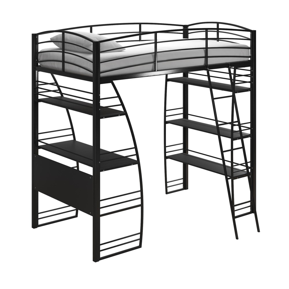 Twin Sandy Loft Bed with Integrated Desk and Shelves Black - Room & Joy