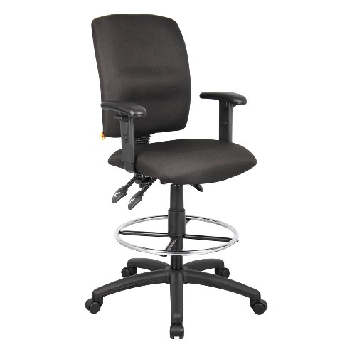 Awe Inspiring Multi Function Fabric Drafting Stool With Adjustable Arms Black Boss Office Products Gmtry Best Dining Table And Chair Ideas Images Gmtryco