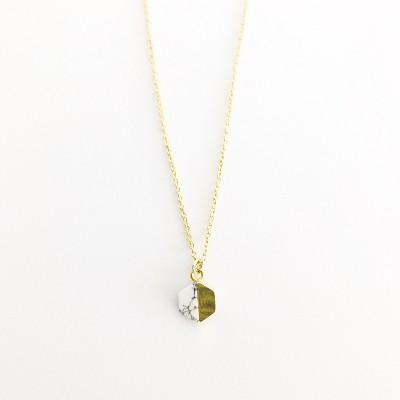 Sanctuary Project Semi Precious White Howlite Geo Charm Necklace Gold