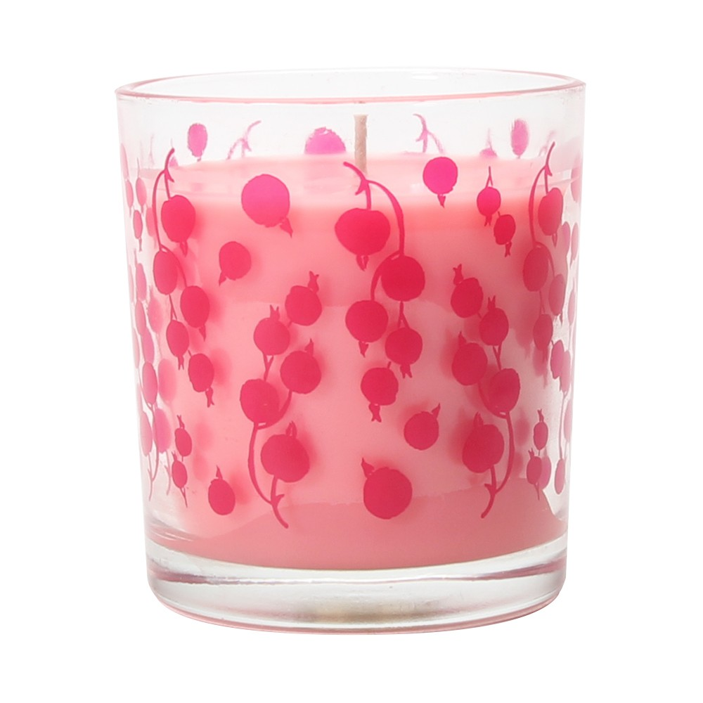 4.9oz Glass Container Candle Watermelon Cassis, Dark Pink
