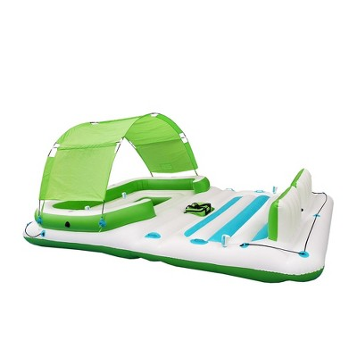 Comfy Floats 91464VM 13 Foot Misting Party Platform Inflatable Summer Float for Pool, Lake, River with Misters for Water, Fits 6 People, Green