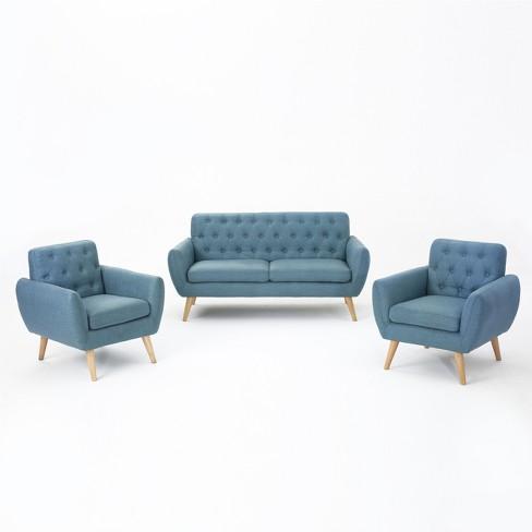 Prime Bernice 3Pc Petite Mid Century Sofa And Club Chair Set Blue Christopher Knight Home Machost Co Dining Chair Design Ideas Machostcouk