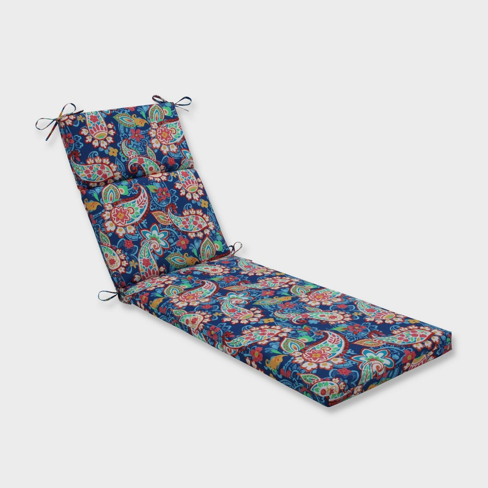 Paisley Party Chaise Lounge Outdoor Cushion Blue - Pillow Perfect
