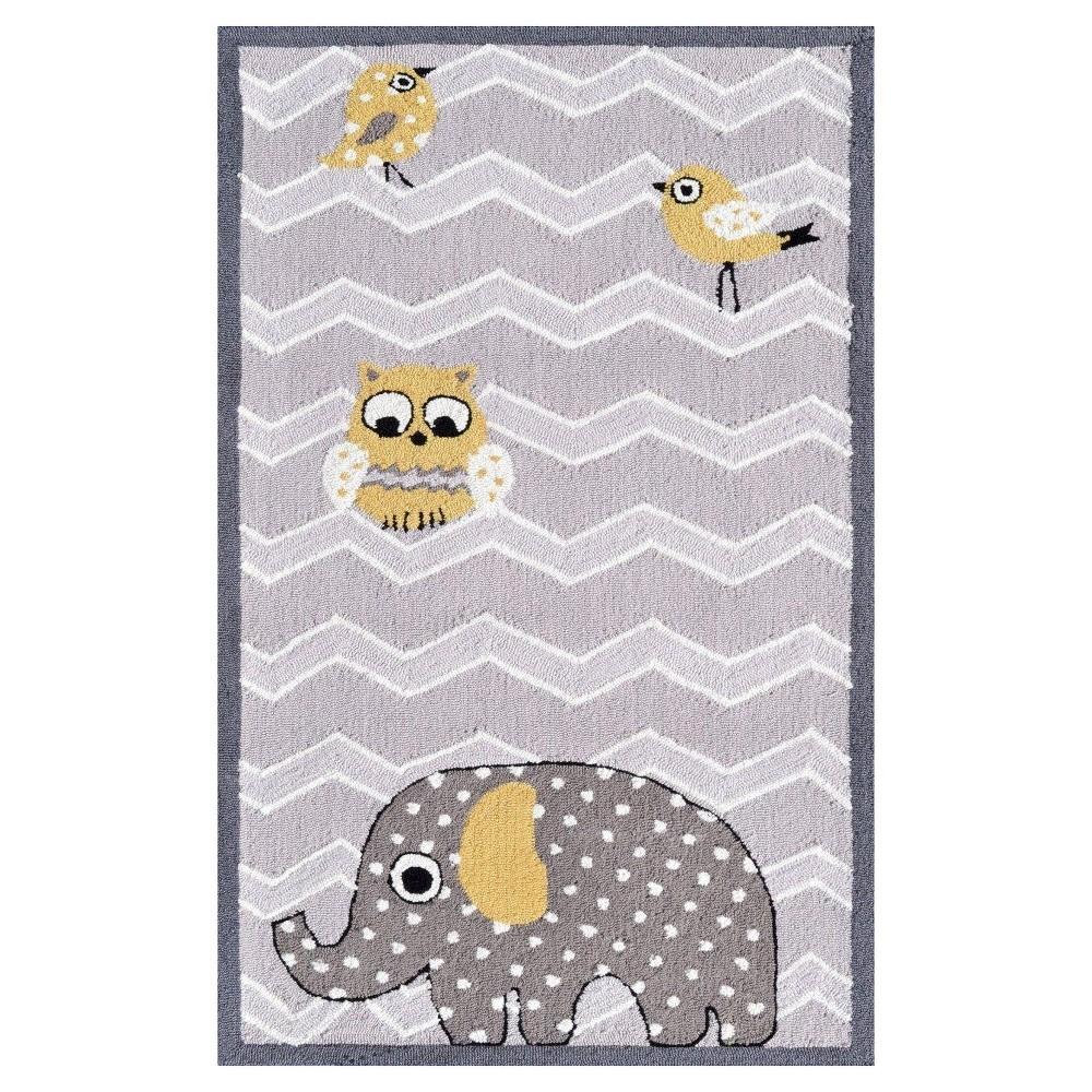 "Image of ""Gray Elephant & Bird Area Rug (32""""x56"""") - The Rug Market"""