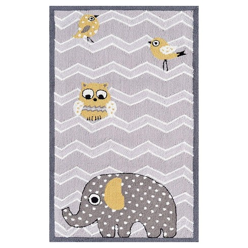 Gray Elephant & Bird Area Rug (3'x5') - The Rug Market - image 1 of 1