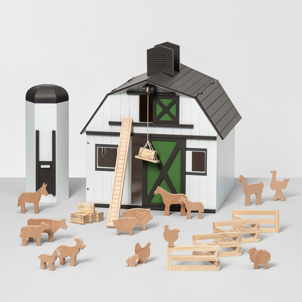 Image of Toy Barn with Animal Figurines - Hearth & Hand with Magnolia
