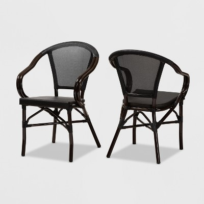 Set Of 2 Artus Indoor and Outdoor Stackable Bistro Dining Chairs - Baxton Studio