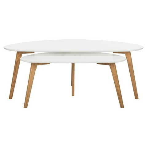 Olida Double Coffee Table - White / Oak - Safavieh® - image 1 of 4
