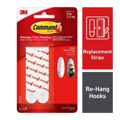 Command Large Sized Refill Strips (6 Strips)White