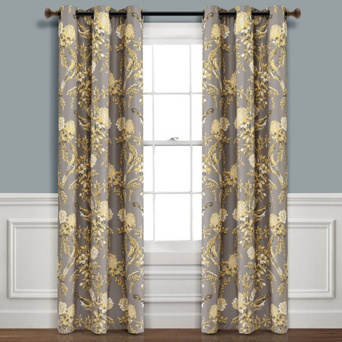 Set of 2 Farmhouse Bird and Flower Insulated Grommet Blackout Window Curtain Panels - Lush Décor - image 1 of 4