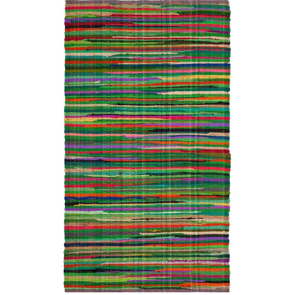 2'3X5' Stripe Woven Runner Green - Safavieh, Green/Multi-Colored