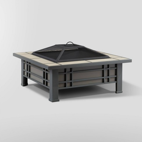 Morrison Square Wood Fire Pit - Real Flame - image 1 of 2