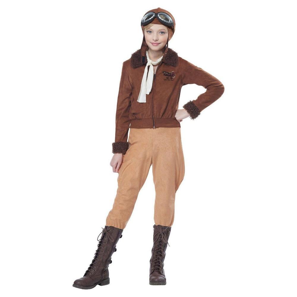 Girls' California Costumes Amelia Earhart Costume - Brown L (12-14), Multi-Colored