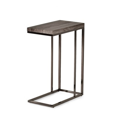 Lucia Chairside End Table with Nickel Gray - Steve Silver