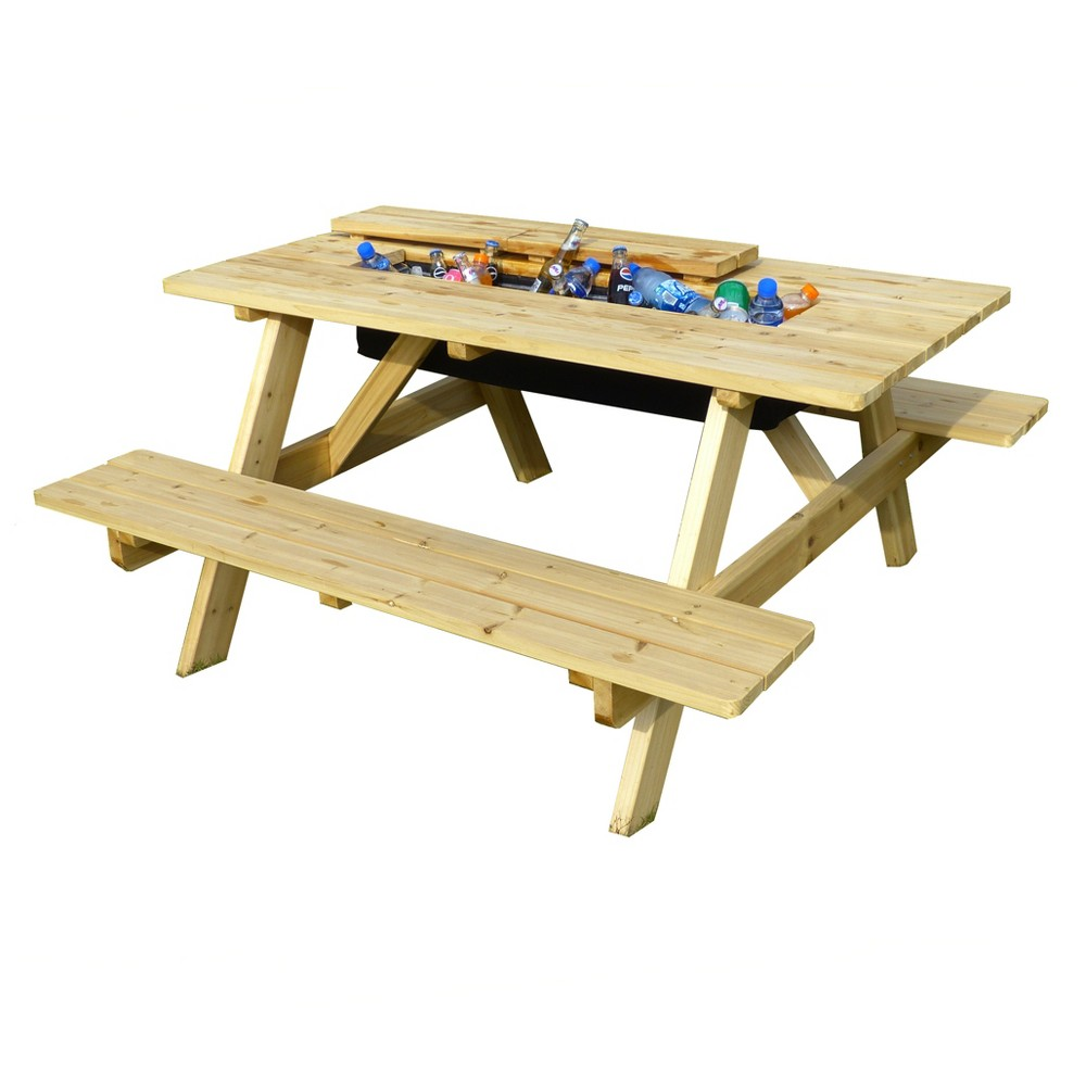 Rectangle Hardwood Cooler Picnic Table Kit - Merry Products, Natural