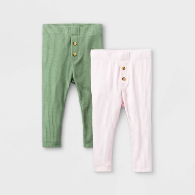 Baby Girls' 2pk Ribbed Pull-On Pants - Cat & Jack™ Light Olive 3-6M