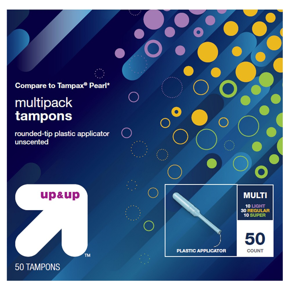 Multipack Tampons - Plastic - 50ct - Up&Up (Compare to Tampax Pearl)