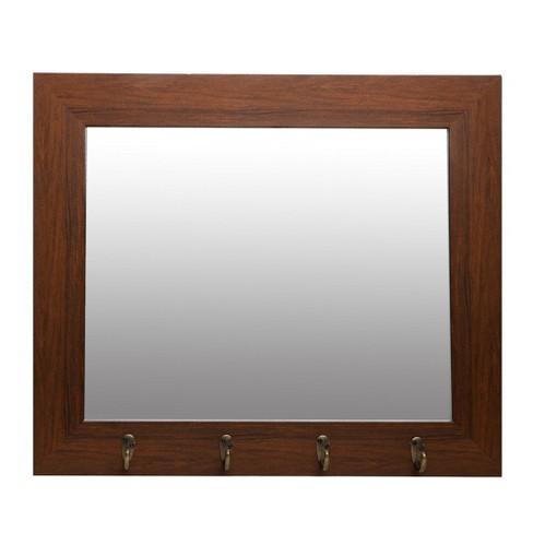 22 X26 Dark Wood Foyer With Hooks Decorative Wall Mirror Brown Patton Decor