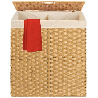 Best Choice Products Wicker Double Laundry Hamper, Divided Storage Basket w/ Linen Liner, Handles