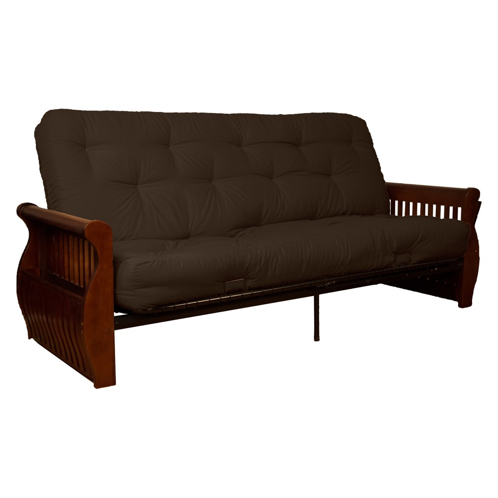 Storage Arm 8 Cotton/Foam Futon Sofa Sleeper Walnut Wood Finish Brown - Epic Furnishings
