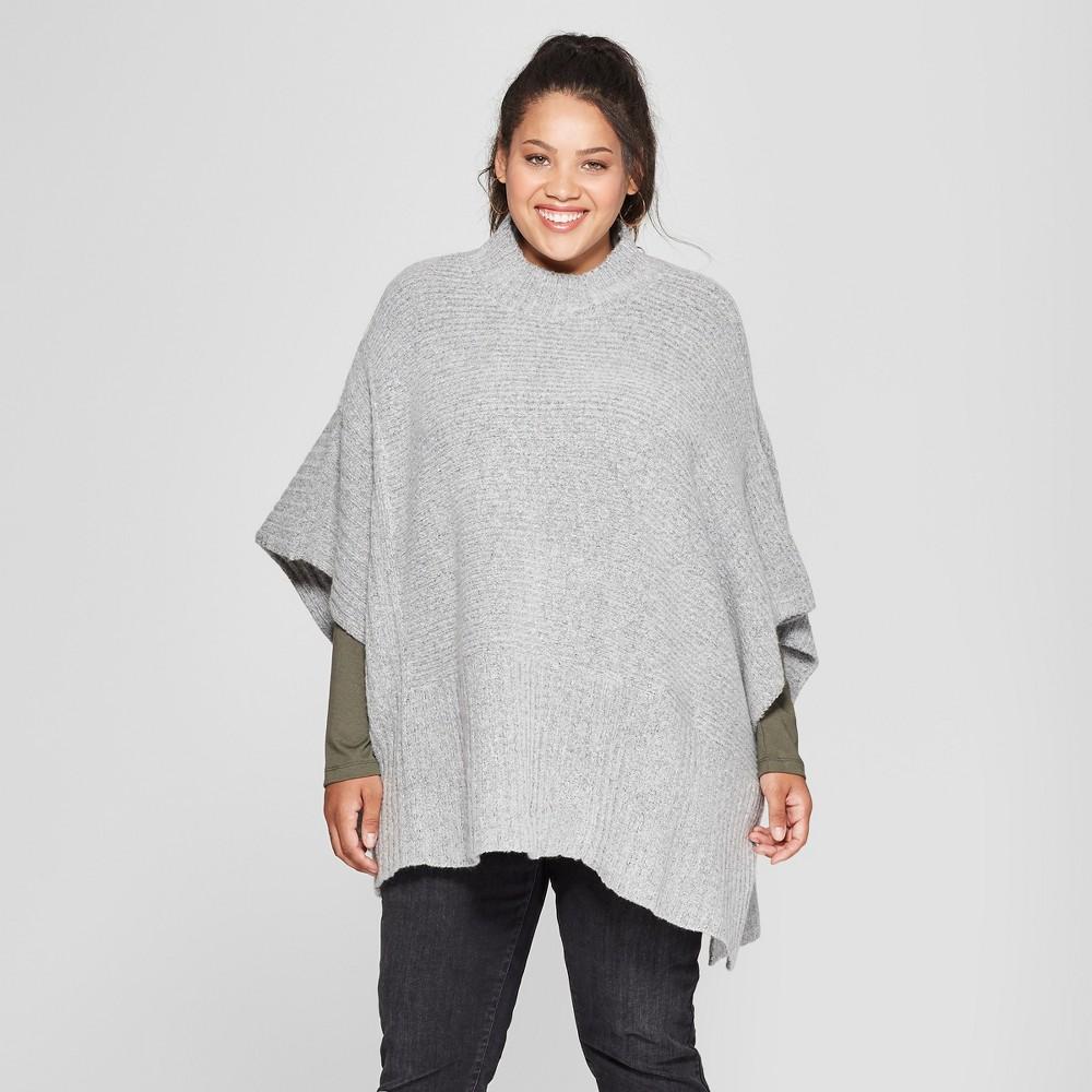 Women's Plus Size Rib Mix Poncho Sweater - Universal Thread Gray