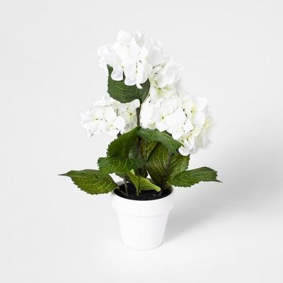 17  x 6  Artificial Hydrangea Arrangement In Pot Green/White - Threshold™