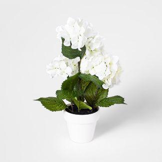 """17"""" x 6"""" Artificial Hydrangea Arrangement In Pot Green/White - Threshold™"""