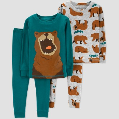 Baby Boys' 4pc Bear Pajama Set - Just One You® made by carter's Blue 12M