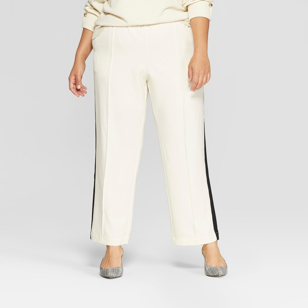 Women's Plus Size Side Striped Ankle Trouser - Who What Wear Cream (Ivory) 3X