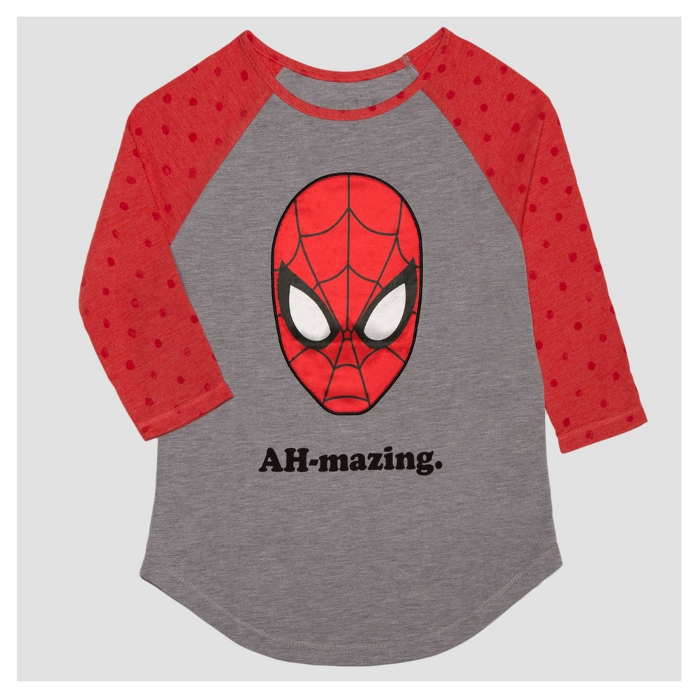 Girls' Marvel Spider-Man 3/4 Sleeve Raglan T-Shirt - Heather Gray S