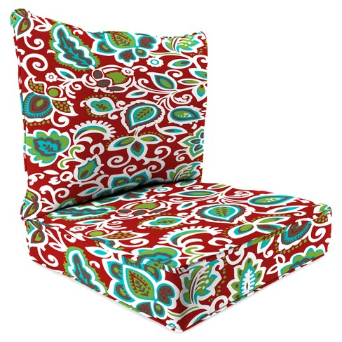 Outdoor Set Of 2PC Deep Seat Chair Cushion In Faxon Rojo  - Jordan Manufacturing - image 1 of 1