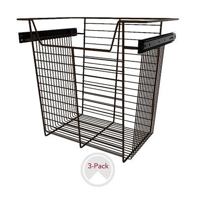 """Rev-A-Shelf Sidelines CBSL-181417BZ-3 18"""" Bronze Wire Pullout Storage Basket Bin Organizer for 14"""" Deep Kitchen, Bathroom, or Closet Cabinet (3 Pack)"""