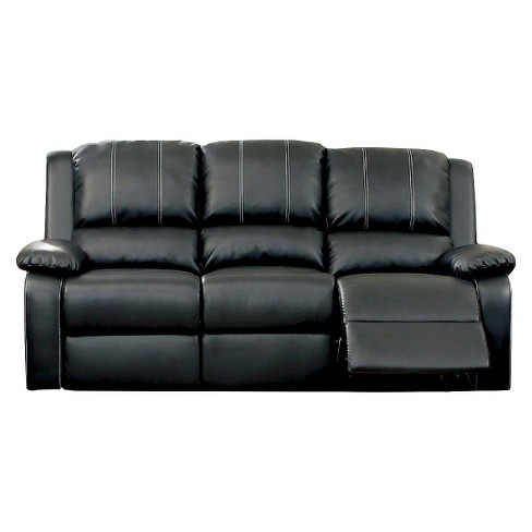 ioHomes Marty Double Stitched Leatherette Reclining Sofa in Black - image 1 of 2