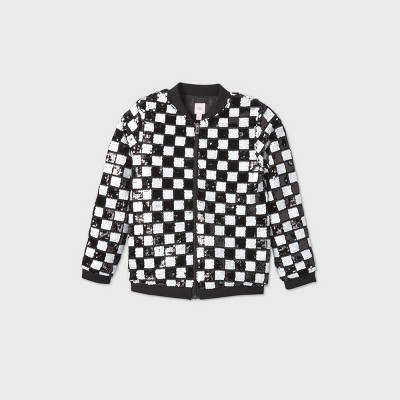 Girls' Flip Sequin Checkered Bomber Jacket - More Than Magic™ Black/White XS