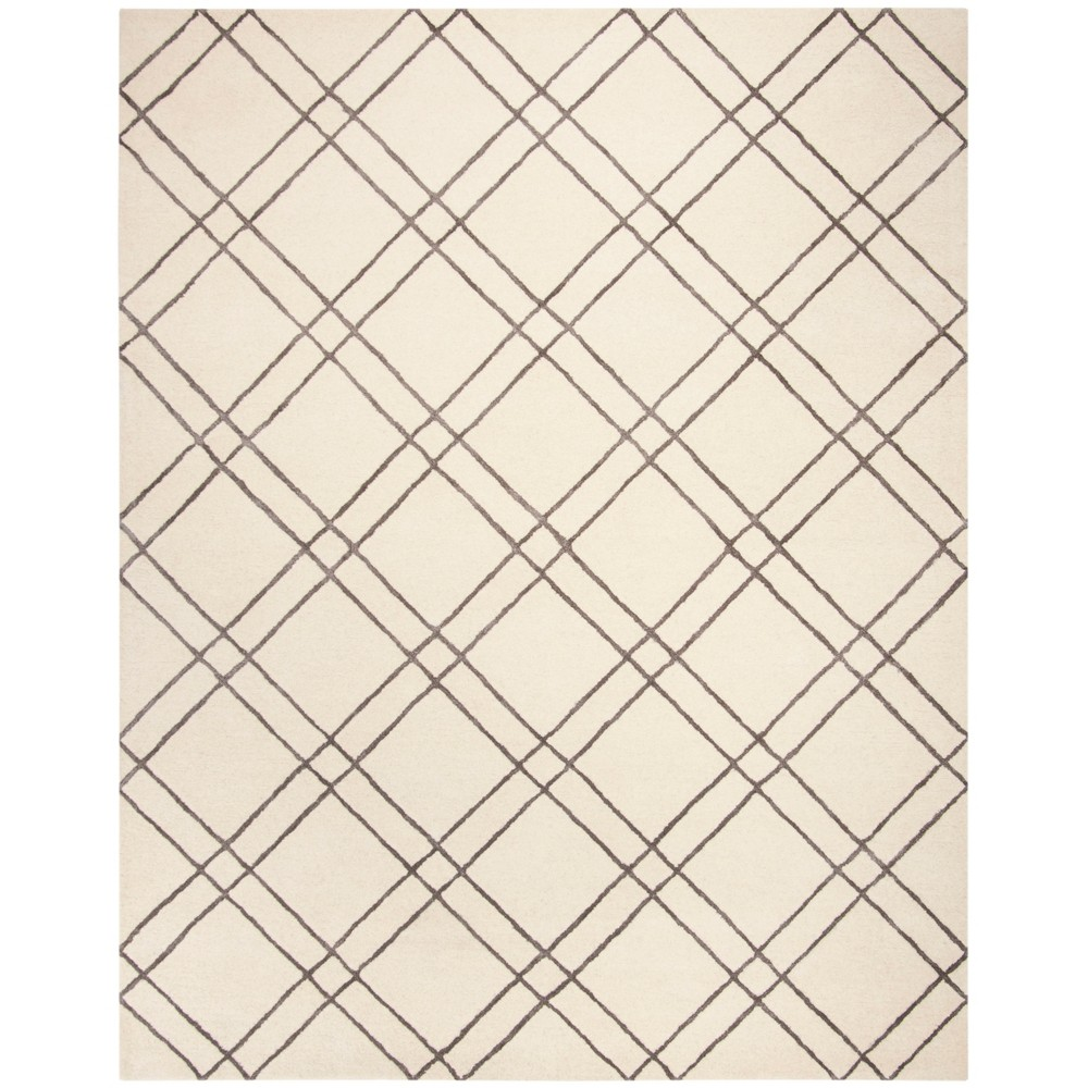 8'X10' Crosshatch Tufted Area Rug Ivory/Dark Gray - Safavieh