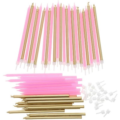 Blue Panda 48-Pack Metallic Gold & Pink Long Thin Birthday Cake Candles 5-Inch with Holders